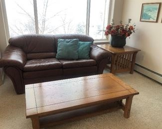 Matching brown leather couches