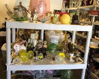Eggs, Rabbits, glass globes, crystal dishes, teacups & saucers, birds, etc.