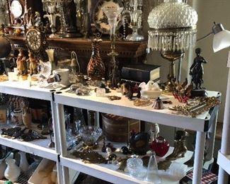 Native American figurines and decor, parlor lamps, candelabras, vintage clocks.