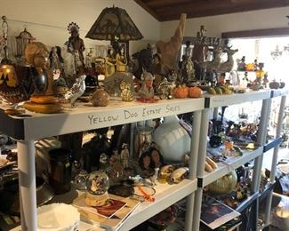 Tiffany-style Native American Lamp, painted gourds, Sculptures, hand-thrown pottery, Brutalist wood sculpture.