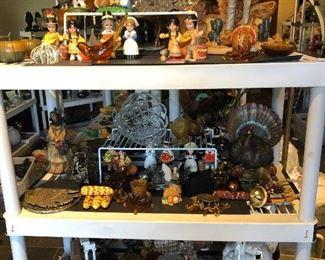 Thanksgiving decor and collectibles; Indian and Pilgram figurines, Salt & Pepper sets, Turkeys, Pumpkins, Corn, etc.