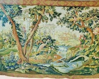 """Vintage Hand Stitched French style so I would give it a French provenance Large Tapestry. These are usually called """"Verdure"""", referring to greenery for the dominant color and the abundant trees and leaves."""