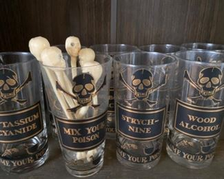 "Set of George's Briard ""Name Your Poison"" bar ware"