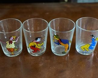 Vintage French clown juice glasses