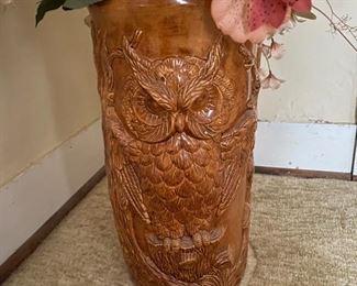 Wise Owl ceramic umbrella stand