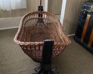 Antique wicker cradle