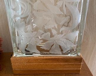 Etched glass light