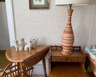 Mid century lamp and Kling furniture maple pieces