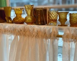 Vintage amber glass pieces