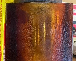 Mid century amber glass container