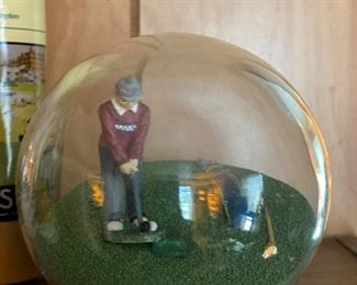 Vintage glass ball with golfer