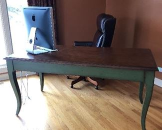 Green and Wood Top Desk