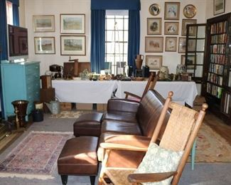 Antique Rocking Chairs, Leather Furniture, Primitives, Decorated Crocks, thousands of interesting books