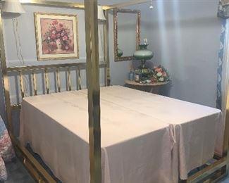 Queen canopy brass bed