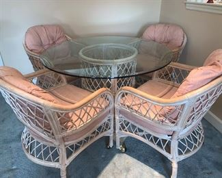 Rattan dining set with four chairs