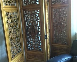 Four panel richly carved Asian wood screen