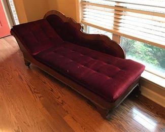 Antique velvet chaise