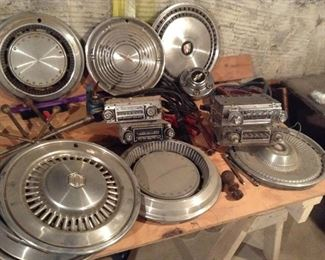 Oldsmobile and other hub caps and car radios