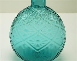 Vintage Metro Museum of Arts MMA Emerald Green Daisy Diamond Flask - condition: flawless