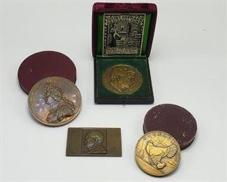 Bronze Grouping - 1. Julius Hofmann Memorial Fund, Award of Merit for school work in German Baltimore. 2. Lvdovicvs Magnvs Rexchristianissimvs. 3. Szeretetuk Jeleul Tisziviseloi 1873 -1913