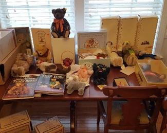 Dozens of Steiff, Boyds Bears with boxes