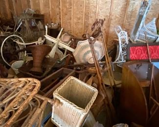 Lots more wicker, drop leaf table, bird cage, basket, more.