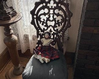 Antique chair, plant stand, doll