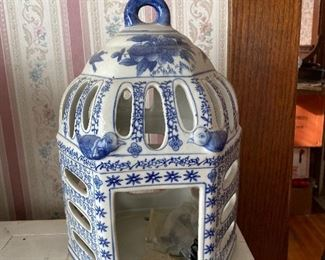 Blue and white bird house