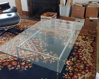 Mid-century (original receipt) glass coffee table.