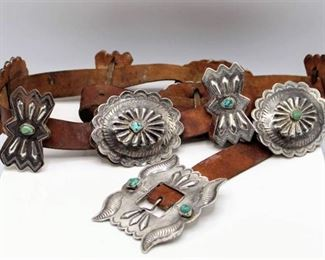 Leather, Silver & Turquoise Concho Belt with 5 Conchos 5 Butterfly Conchos & Buckle