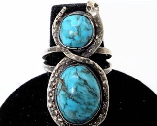 Silver Snake and Turquoise Ring