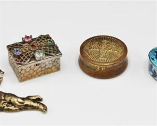 3 Vintage Mini Trinket Pill Boxes (1 box is .925 Sterling Silver) and a Brass Cupid