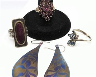 D. Brunetta Signed Gold, Blue & Purple Earrings and 3 Rings (1 ring is .950 Sterling Silver with Blue Stones)