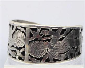 .925 Silver Cuff Bracelet with Markings