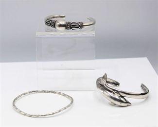 3 Silver Bracelets - Dolphin Cuff, Silver Cuff and Silver Bangle