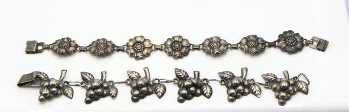 Sterling Flower Link Bracelet and Domed Grape Design Mexican Silver Bracelet