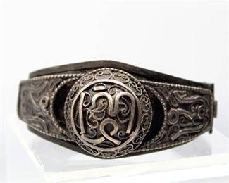 Near Eastern Intricate Silver Panel Hinge Bracelet - Appears very old