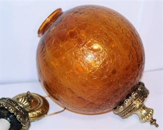Mid-century Modern Amber Crackle Glass Globe Hanging Swag Light Fixture