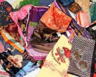 Large Vintage Lot Full of Silk and Various Scarves - Pashmina Scarf (new in pkg)
