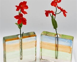 Art Glass Block Bud Vase x 2 Vintage