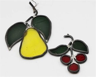 2 Stained Glass Wall Hangings Pear and Cherries