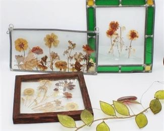 Stained Glass and Dried Flowers Wall Hangings Lot x4