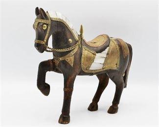 "Solid Wood and Brass Horse Figurine with Shell Inlay 6.5"" Tall"