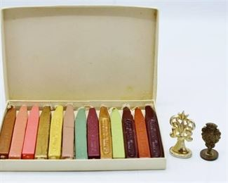 Wax Seal Stamps and Box of Sealing Wax