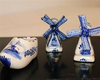 Porcelain Set of Windmill Shakers and Toothpick holder