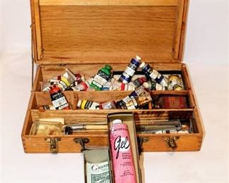 Antique Painters Box with Assorted Vintage Acrylic Tubes and more...