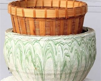 Green & White Cement Planter Pot and Wicker Plant Basket