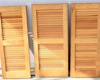 3 Louvered Unfinished Wood Shutters