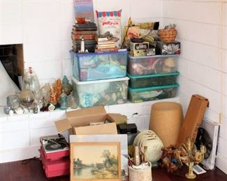 "Another Large ""Surprise"" Lot! Books, Crafting, Collectibles, Art, Ball Jar, New shoe rack, Mikasa....5 Nice TUBS"