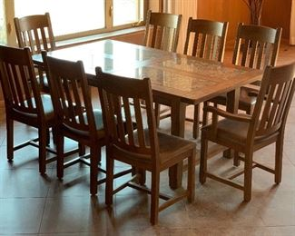 Mission Oak Travertine Dining Table w/8 chairs	Table: 31x42x72in chairs: 41x20x20 seat height:19	HxWxD